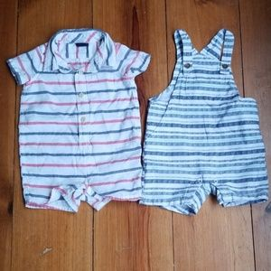 GAP Romper and Gymboree Overalls 3-6 Months